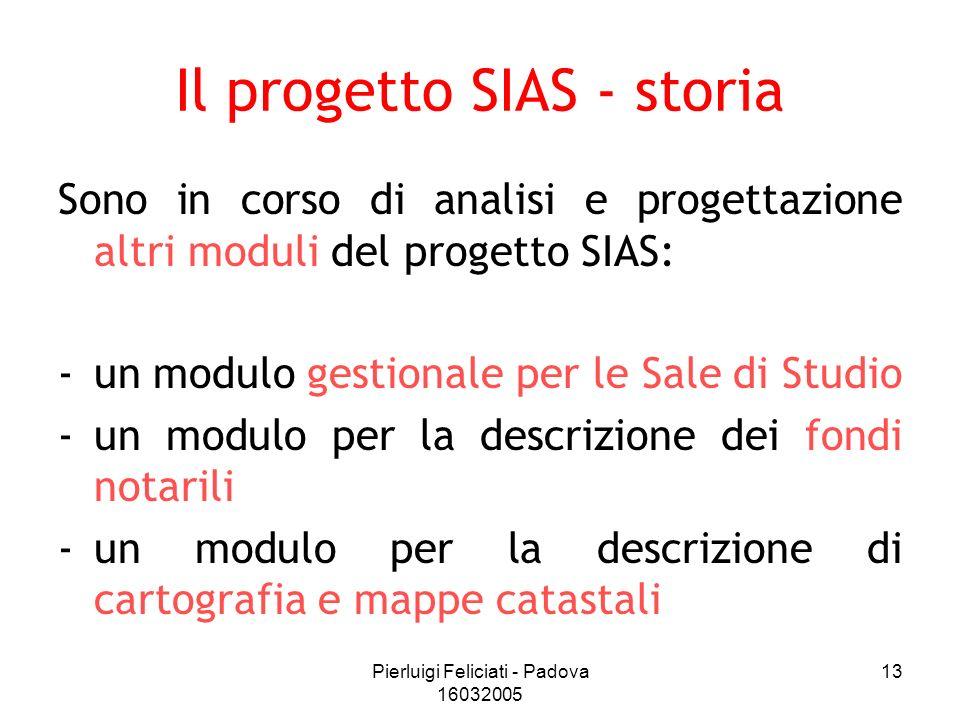 Pierluigi Feliciati - Padova 16032005 13 Il progetto SIAS - storia Sono in corso di analisi e progettazione altri moduli del progetto SIAS: -un modulo