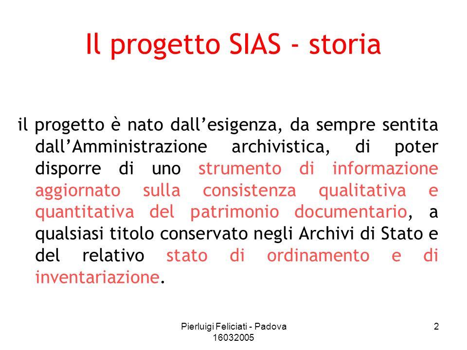 Pierluigi Feliciati - Padova 16032005 2 Il progetto SIAS - storia il progetto è nato dallesigenza, da sempre sentita dallAmministrazione archivistica,