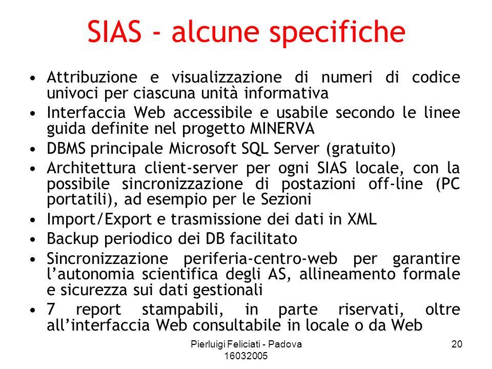 Pierluigi Feliciati - Padova 16032005 20 SIAS - alcune specifiche Attribuzione e visualizzazione di numeri di codice univoci per ciascuna unità inform