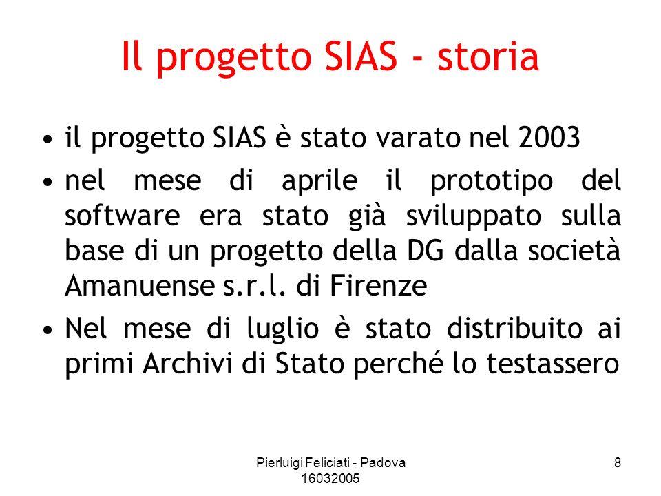 Pierluigi Feliciati - Padova 16032005 8 Il progetto SIAS - storia il progetto SIAS è stato varato nel 2003 nel mese di aprile il prototipo del softwar