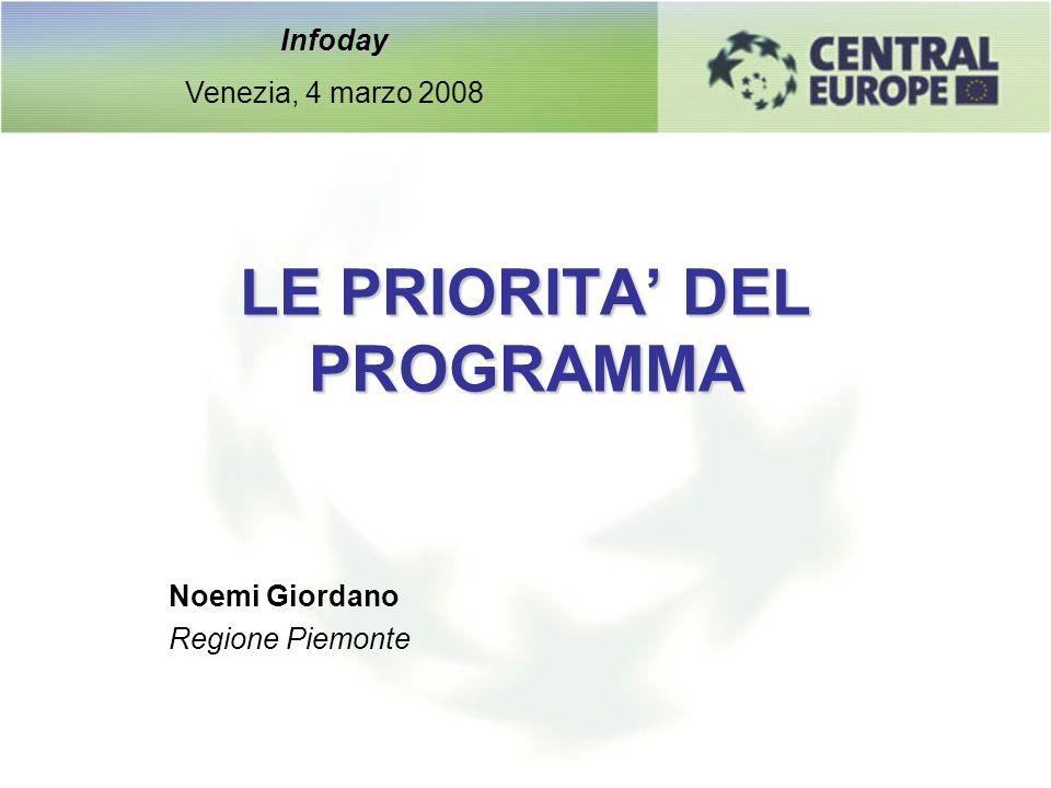 LE PRIORITA DEL PROGRAMMA Noemi Giordano Regione Piemonte Infoday Venezia, 4 marzo 2008