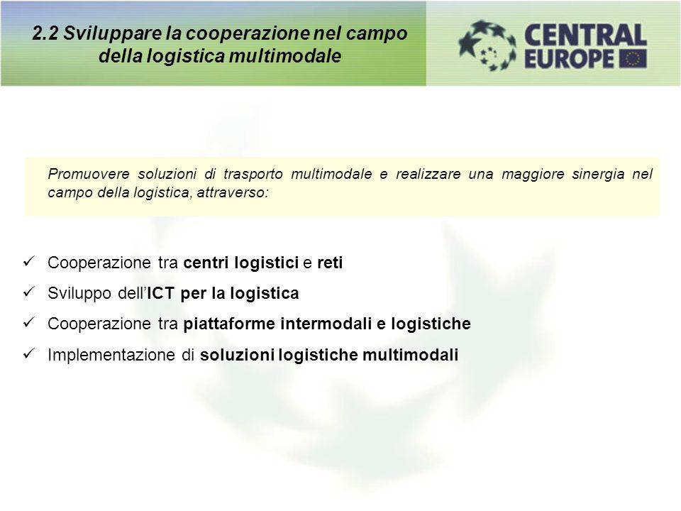 Promuovere soluzioni di trasporto multimodale e realizzare una maggiore sinergia nel campo della logistica, attraverso: Cooperazione tra centri logist