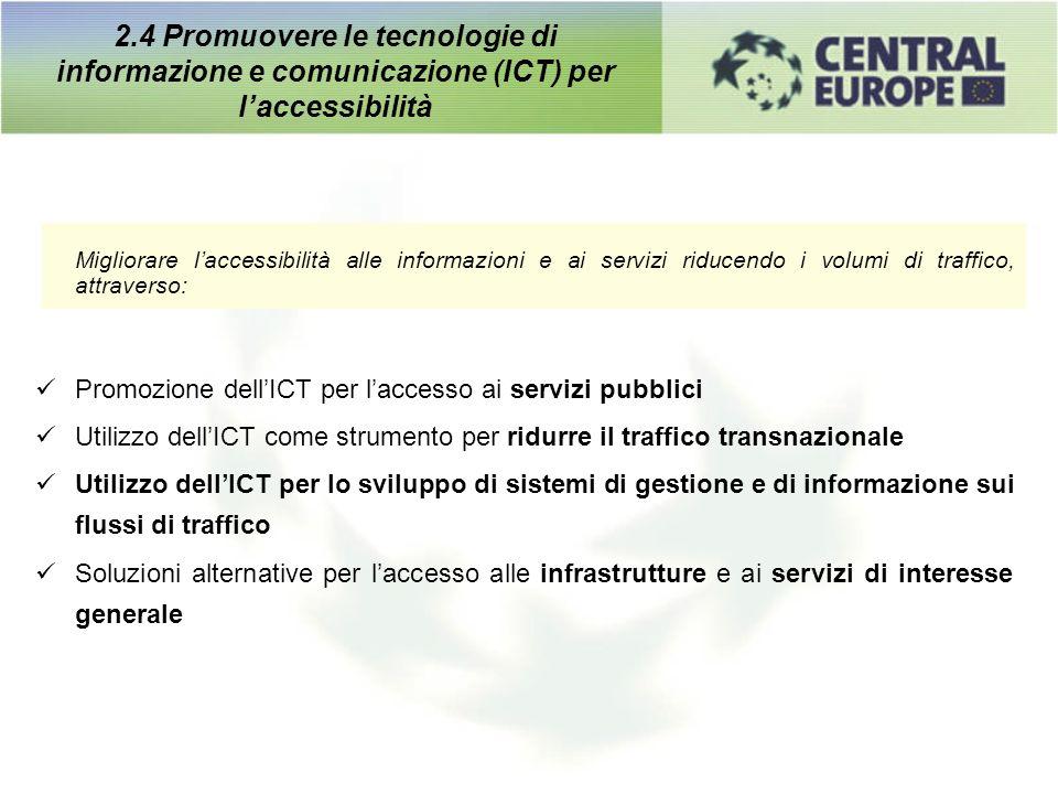Migliorare laccessibilità alle informazioni e ai servizi riducendo i volumi di traffico, attraverso: Promozione dellICT per laccesso ai servizi pubbli