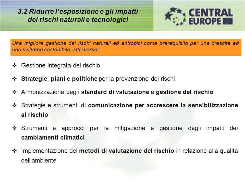 Una migliore gestione dei rischi naturali ed antropici come prerequisito per una crescita ed uno sviluppo sostenibile, attraverso: 3.2 Ridurre lesposi