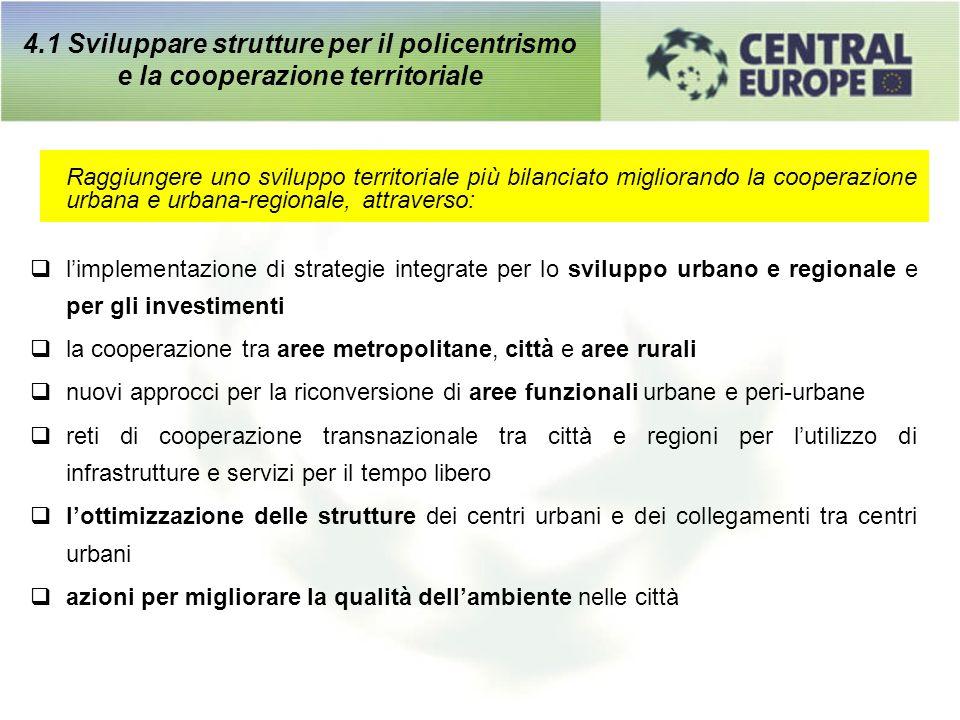 4.1 Sviluppare strutture per il policentrismo e la cooperazione territoriale Raggiungere uno sviluppo territoriale più bilanciato migliorando la coope