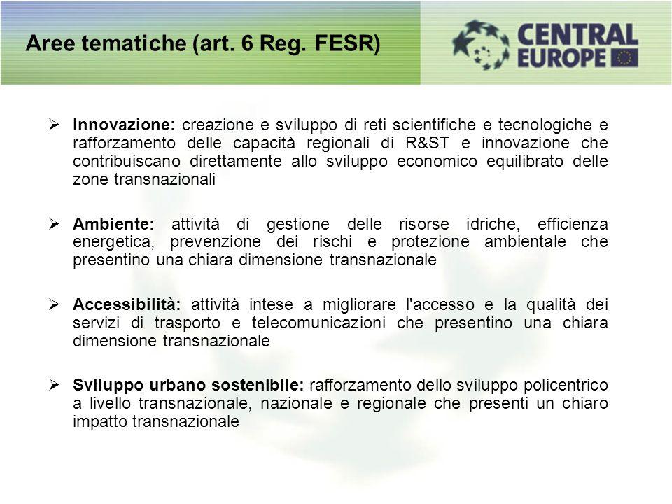 Aree tematiche (art. 6 Reg. FESR) Innovazione: creazione e sviluppo di reti scientifiche e tecnologiche e rafforzamento delle capacità regionali di R&