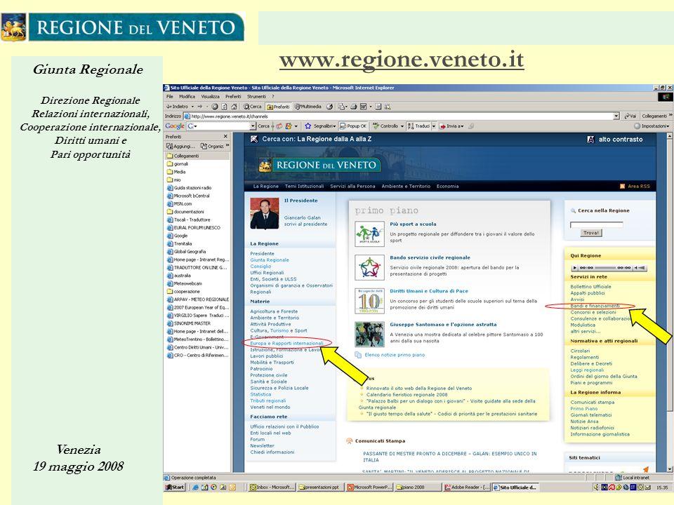 Giunta Regionale Direzione Regionale Relazioni internazionali, Cooperazione internazionale, Diritti umani e Pari opportunità Venezia 19 maggio 2008 31 www.regione.veneto.it
