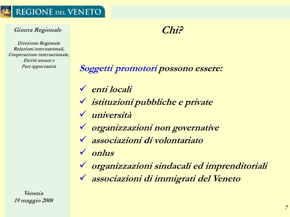 Giunta Regionale Direzione Regionale Relazioni internazionali, Cooperazione internazionale, Diritti umani e Pari opportunità Venezia 19 maggio 2008 7 Chi.