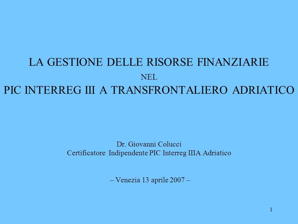 1 LA GESTIONE DELLE RISORSE FINANZIARIE NEL PIC INTERREG III A TRANSFRONTALIERO ADRIATICO Dr. Giovanni Colucci Certificatore Indipendente PIC Interreg