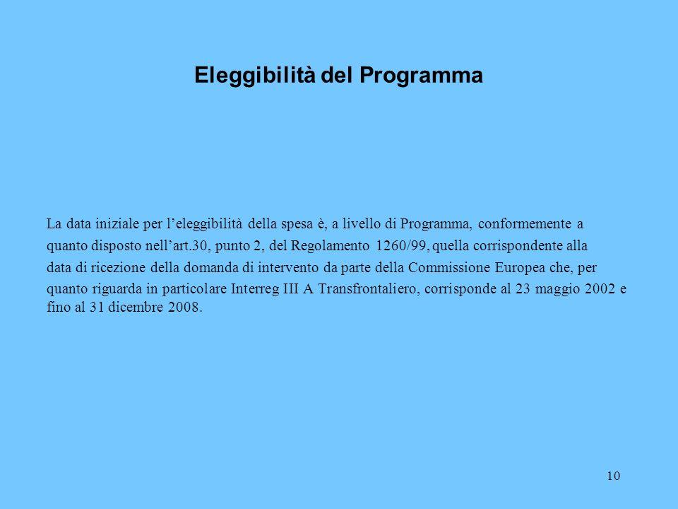 10 Eleggibilità del Programma La data iniziale per leleggibilità della spesa è, a livello di Programma, conformemente a quanto disposto nellart.30, pu