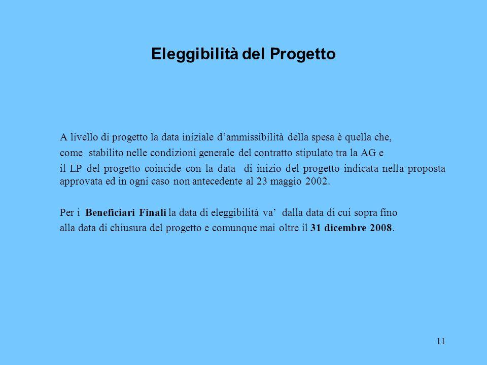 11 Eleggibilità del Progetto A livello di progetto la data iniziale dammissibilità della spesa è quella che, come stabilito nelle condizioni generale