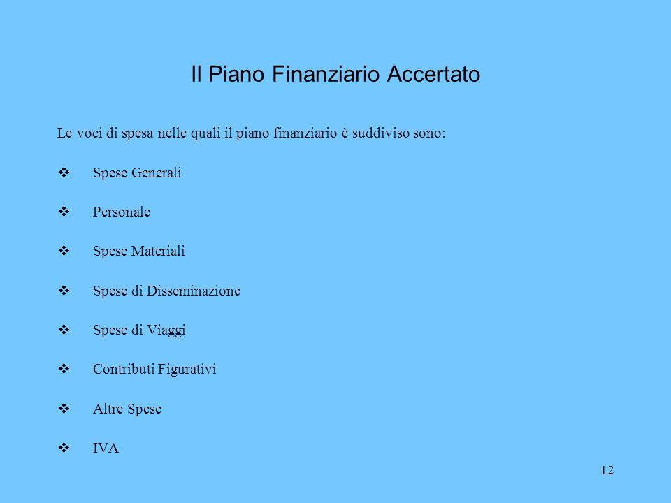 12 Il Piano Finanziario Accertato Le voci di spesa nelle quali il piano finanziario è suddiviso sono: Spese Generali Personale Spese Materiali Spese d