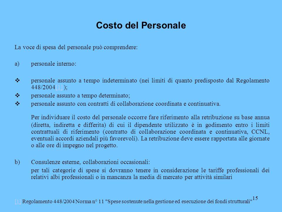 15 Costo del Personale La voce di spesa del personale può comprendere: a)personale interno: personale assunto a tempo indeterminato (nei limiti di qua