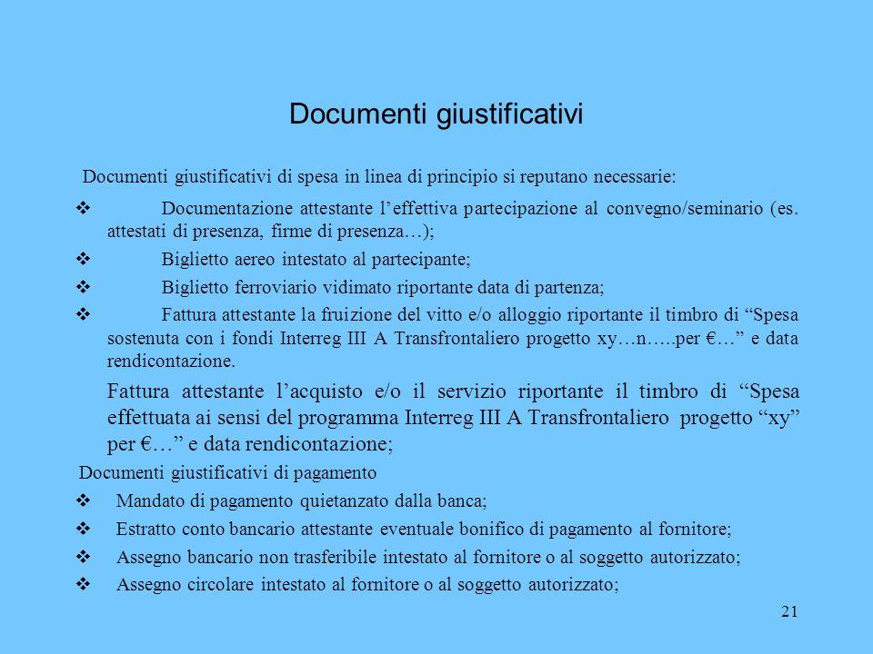 21 Documenti giustificativi Documenti giustificativi di spesa in linea di principio si reputano necessarie: Documentazione attestante leffettiva parte