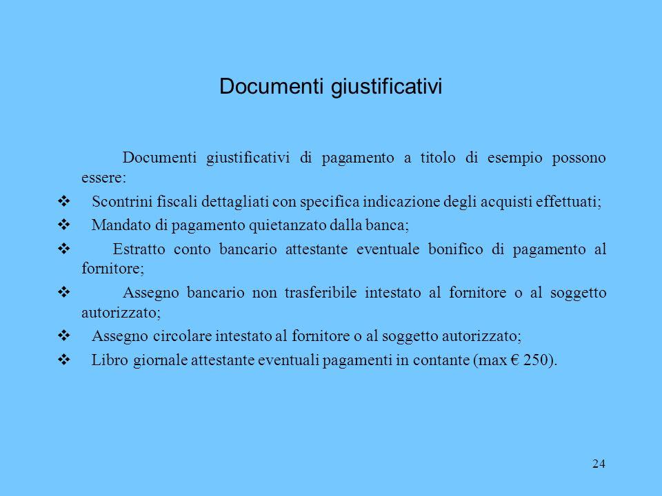 24 Documenti giustificativi Documenti giustificativi di pagamento a titolo di esempio possono essere: Scontrini fiscali dettagliati con specifica indi