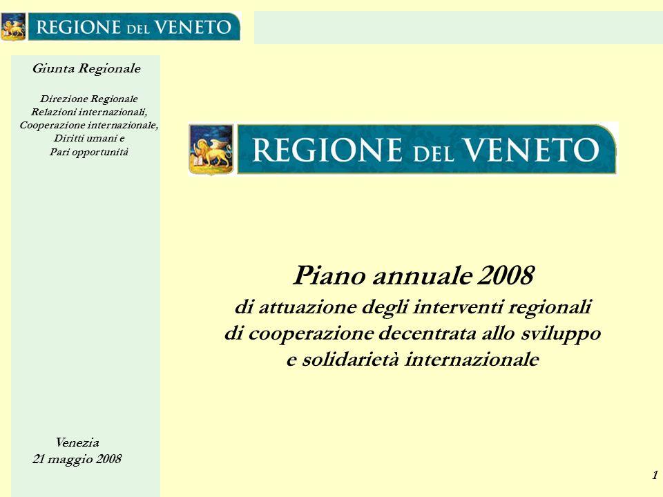 Giunta Regionale Direzione Regionale Relazioni internazionali, Cooperazione internazionale, Diritti umani e Pari opportunità Venezia 21 maggio 2008 2 Piano annuale Il Piano annuale è strumento di attuazione della Legge Regionale n.