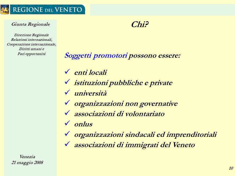 Giunta Regionale Direzione Regionale Relazioni internazionali, Cooperazione internazionale, Diritti umani e Pari opportunità Venezia 21 maggio 2008 10