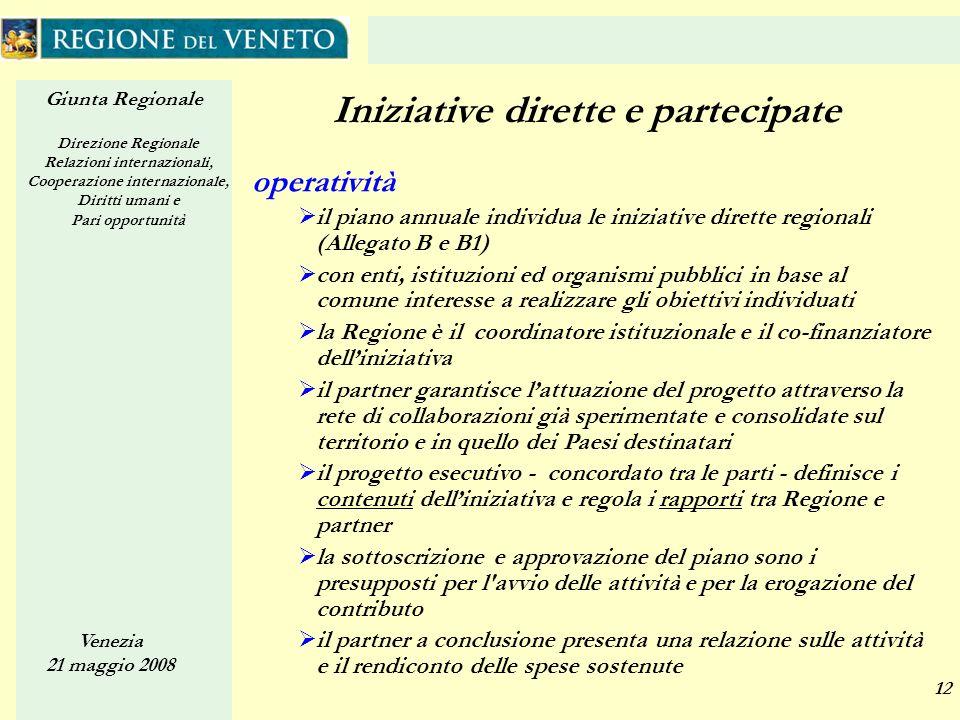 Giunta Regionale Direzione Regionale Relazioni internazionali, Cooperazione internazionale, Diritti umani e Pari opportunità Venezia 21 maggio 2008 12