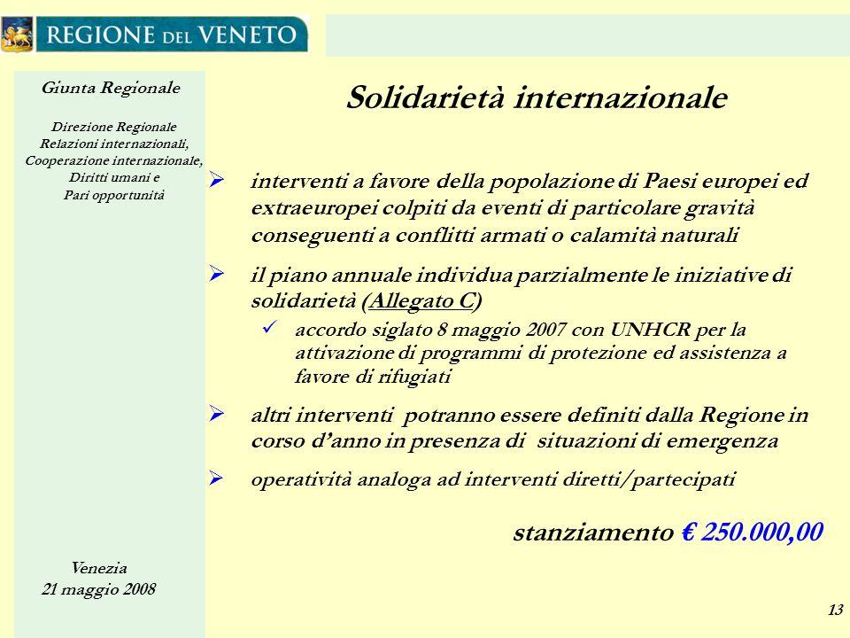 Giunta Regionale Direzione Regionale Relazioni internazionali, Cooperazione internazionale, Diritti umani e Pari opportunità Venezia 21 maggio 2008 13
