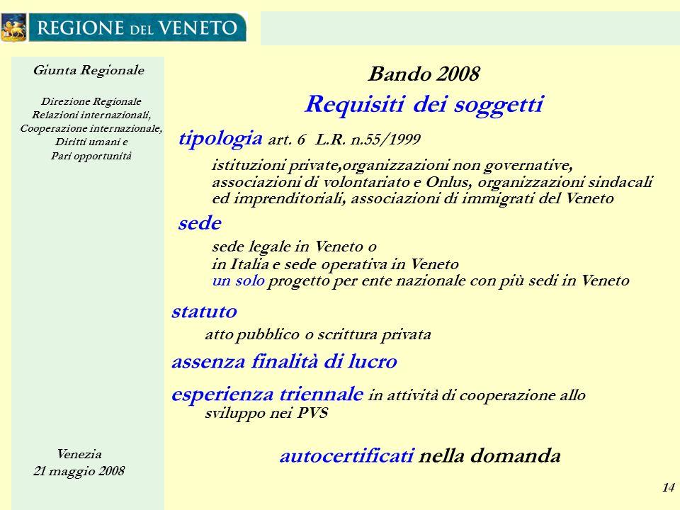 Giunta Regionale Direzione Regionale Relazioni internazionali, Cooperazione internazionale, Diritti umani e Pari opportunità Venezia 21 maggio 2008 14 tipologia art.