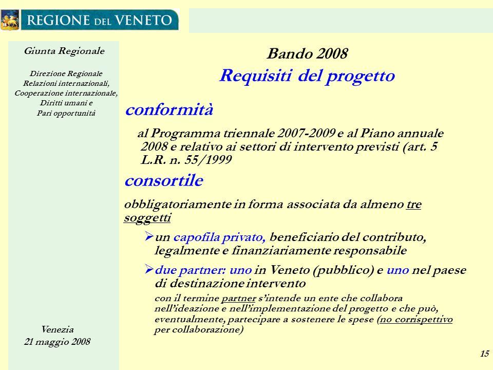 Giunta Regionale Direzione Regionale Relazioni internazionali, Cooperazione internazionale, Diritti umani e Pari opportunità Venezia 21 maggio 2008 15 conformità al Programma triennale 2007-2009 e al Piano annuale 2008 e relativo ai settori di intervento previsti (art.