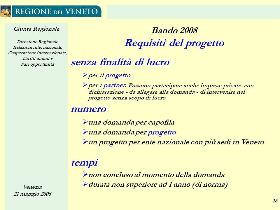Giunta Regionale Direzione Regionale Relazioni internazionali, Cooperazione internazionale, Diritti umani e Pari opportunità Venezia 21 maggio 2008 16 Bando 2008 Requisiti del progetto senza finalità di lucro per il progetto per i partner.