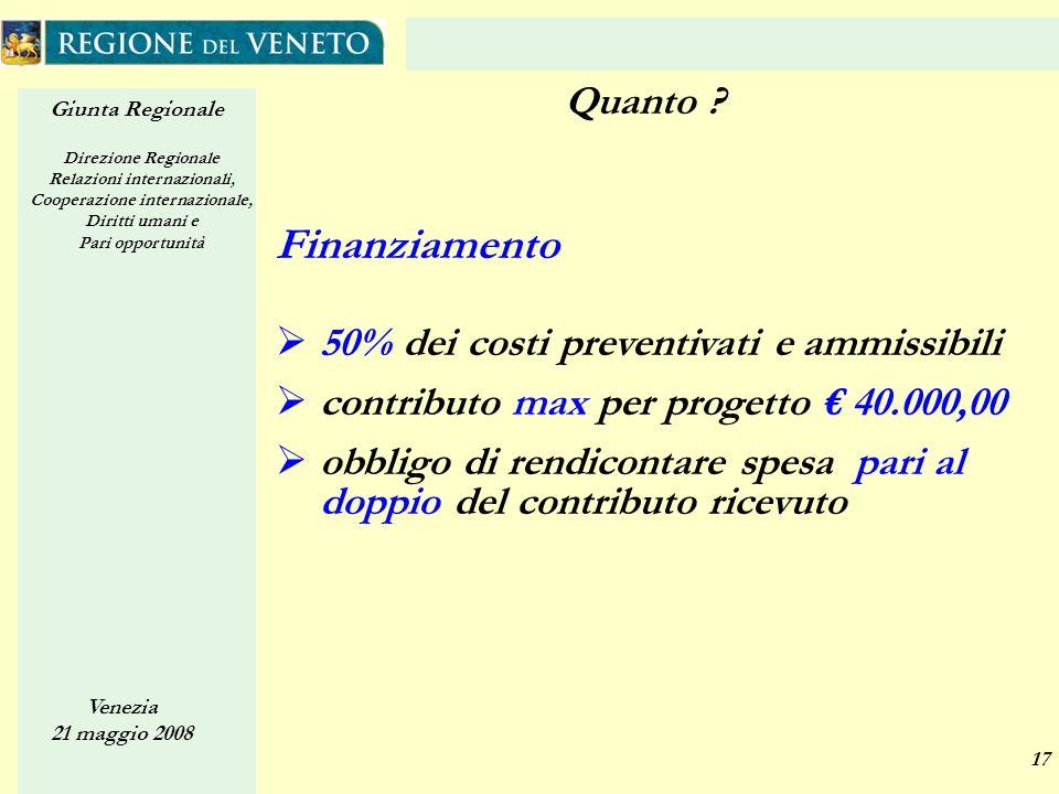 Giunta Regionale Direzione Regionale Relazioni internazionali, Cooperazione internazionale, Diritti umani e Pari opportunità Venezia 21 maggio 2008 17