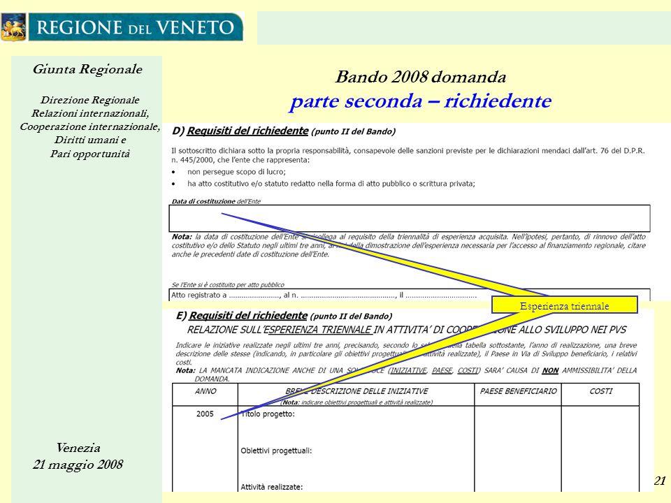 Giunta Regionale Direzione Regionale Relazioni internazionali, Cooperazione internazionale, Diritti umani e Pari opportunità Venezia 21 maggio 2008 21