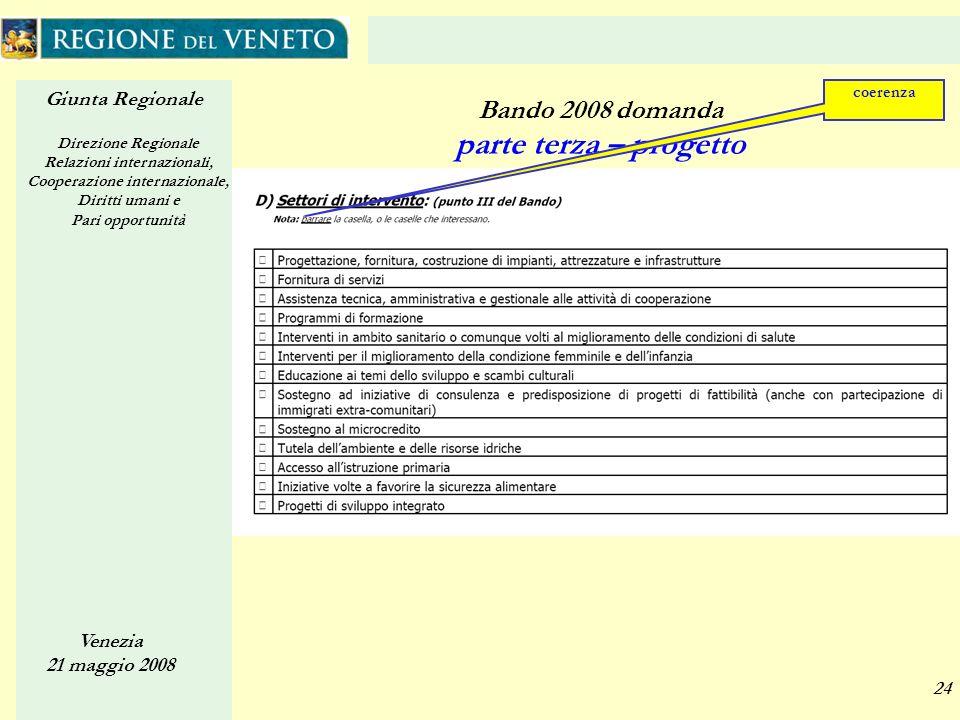 Giunta Regionale Direzione Regionale Relazioni internazionali, Cooperazione internazionale, Diritti umani e Pari opportunità Venezia 21 maggio 2008 24