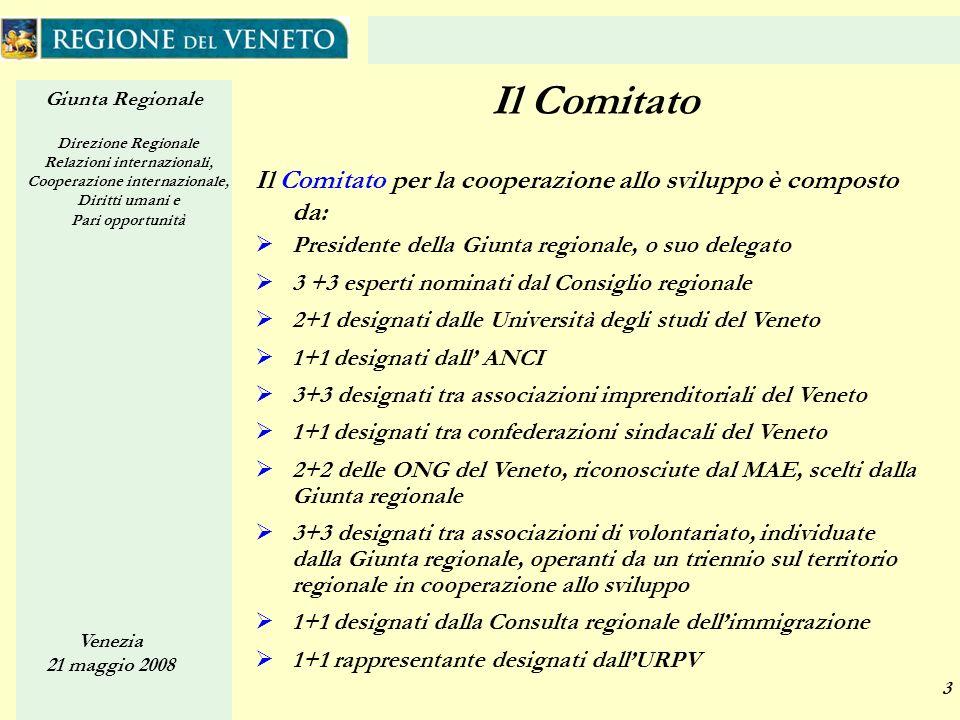 Giunta Regionale Direzione Regionale Relazioni internazionali, Cooperazione internazionale, Diritti umani e Pari opportunità Venezia 21 maggio 2008 3