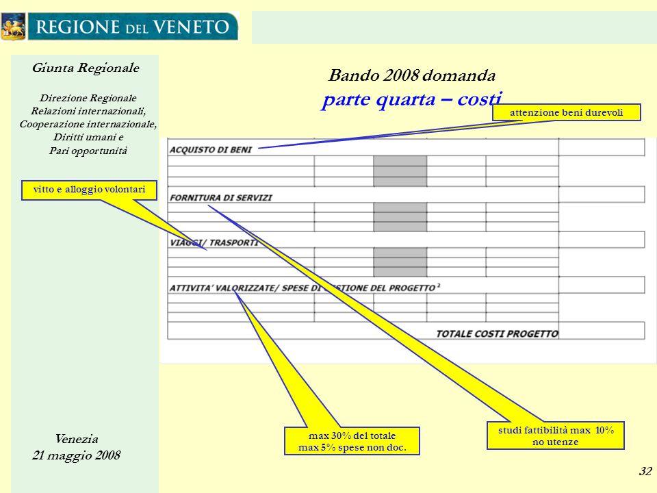 Giunta Regionale Direzione Regionale Relazioni internazionali, Cooperazione internazionale, Diritti umani e Pari opportunità Venezia 21 maggio 2008 32