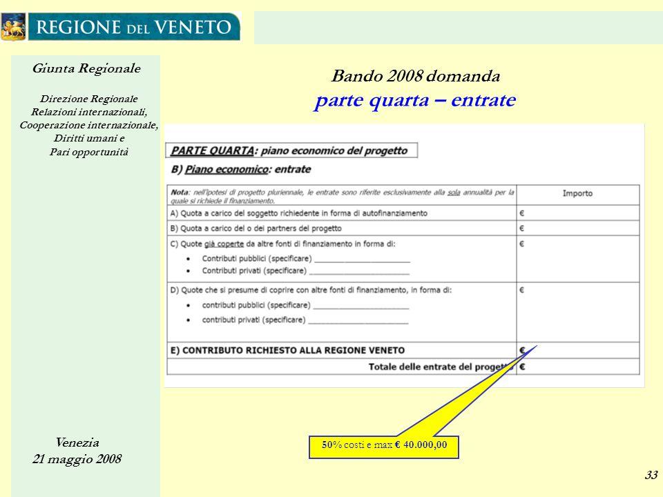 Giunta Regionale Direzione Regionale Relazioni internazionali, Cooperazione internazionale, Diritti umani e Pari opportunità Venezia 21 maggio 2008 33