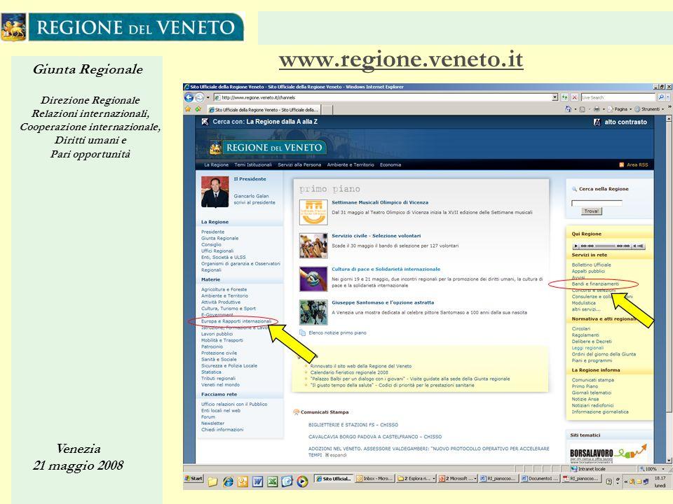 Giunta Regionale Direzione Regionale Relazioni internazionali, Cooperazione internazionale, Diritti umani e Pari opportunità Venezia 21 maggio 2008 35 www.regione.veneto.it