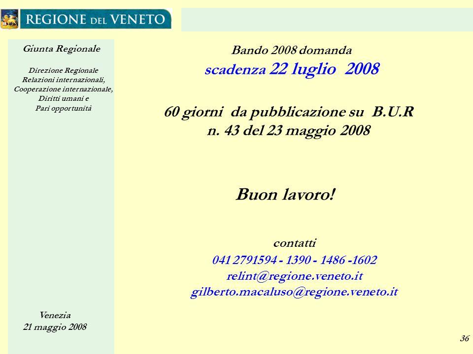 Giunta Regionale Direzione Regionale Relazioni internazionali, Cooperazione internazionale, Diritti umani e Pari opportunità Venezia 21 maggio 2008 36 60 giorni da pubblicazione su B.U.R n.