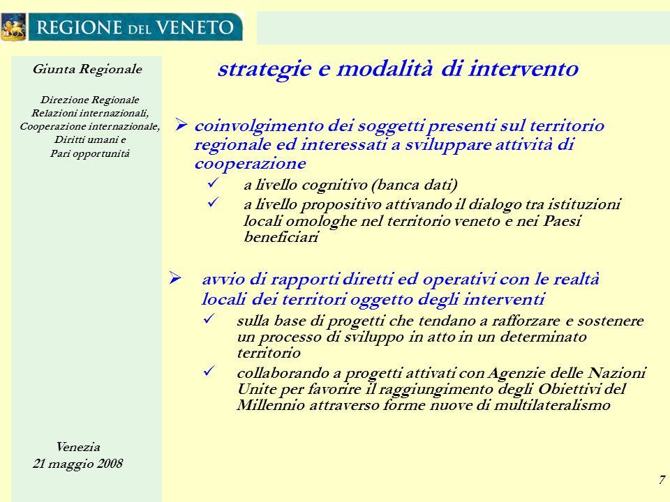 Giunta Regionale Direzione Regionale Relazioni internazionali, Cooperazione internazionale, Diritti umani e Pari opportunità Venezia 21 maggio 2008 7