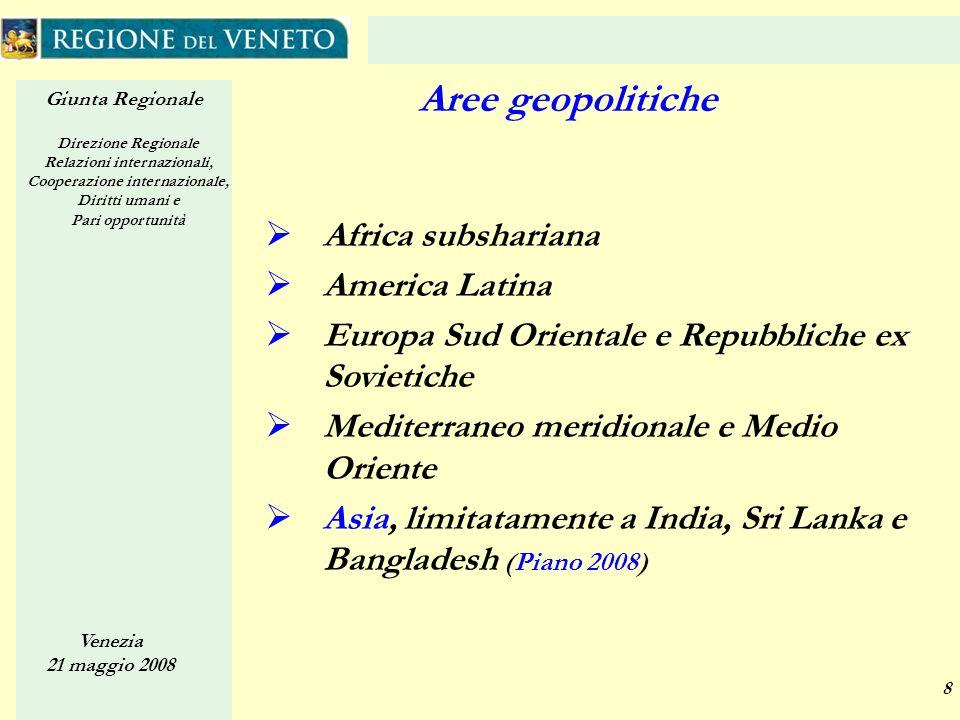 Giunta Regionale Direzione Regionale Relazioni internazionali, Cooperazione internazionale, Diritti umani e Pari opportunità Venezia 21 maggio 2008 8