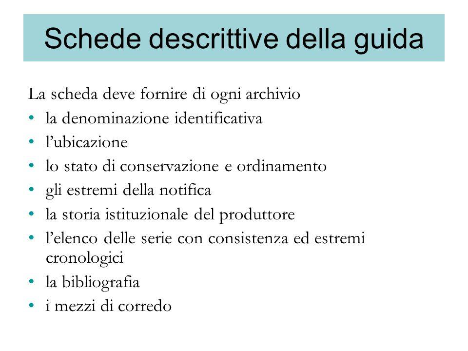 Schede descrittive della guida La scheda deve fornire di ogni archivio la denominazione identificativa lubicazione lo stato di conservazione e ordinam