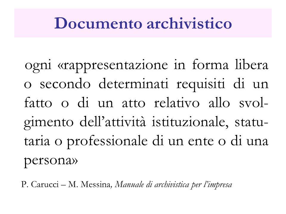 Documento archivistico ogni «rappresentazione in forma libera o secondo determinati requisiti di un fatto o di un atto relativo allo svol- gimento del