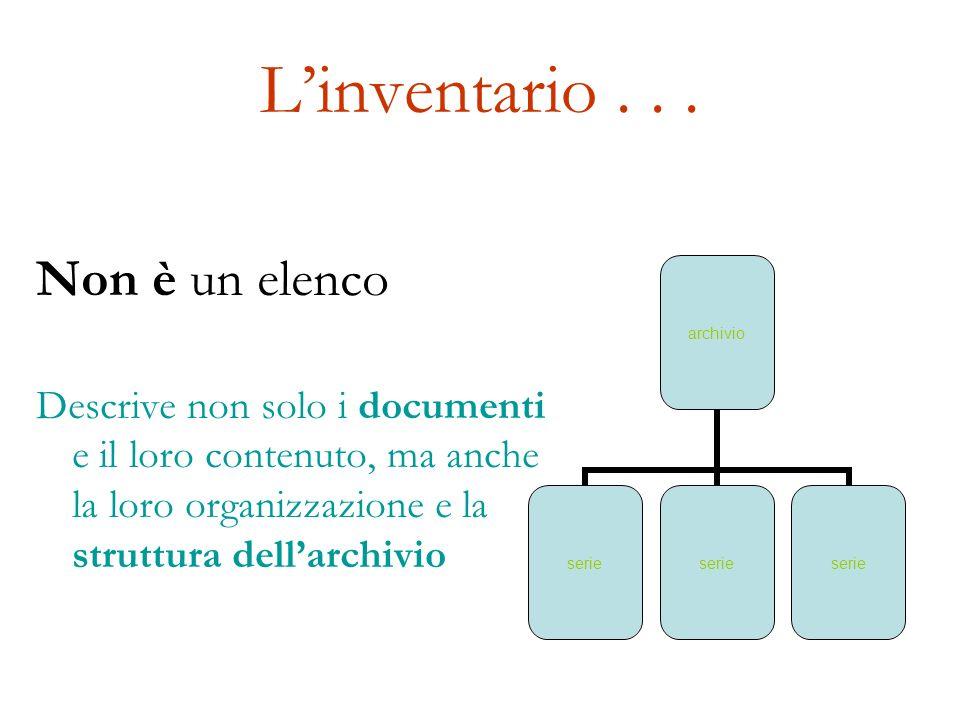 Linventario... Non è un elenco Descrive non solo i documenti e il loro contenuto, ma anche la loro organizzazione e la struttura dellarchivio archivio