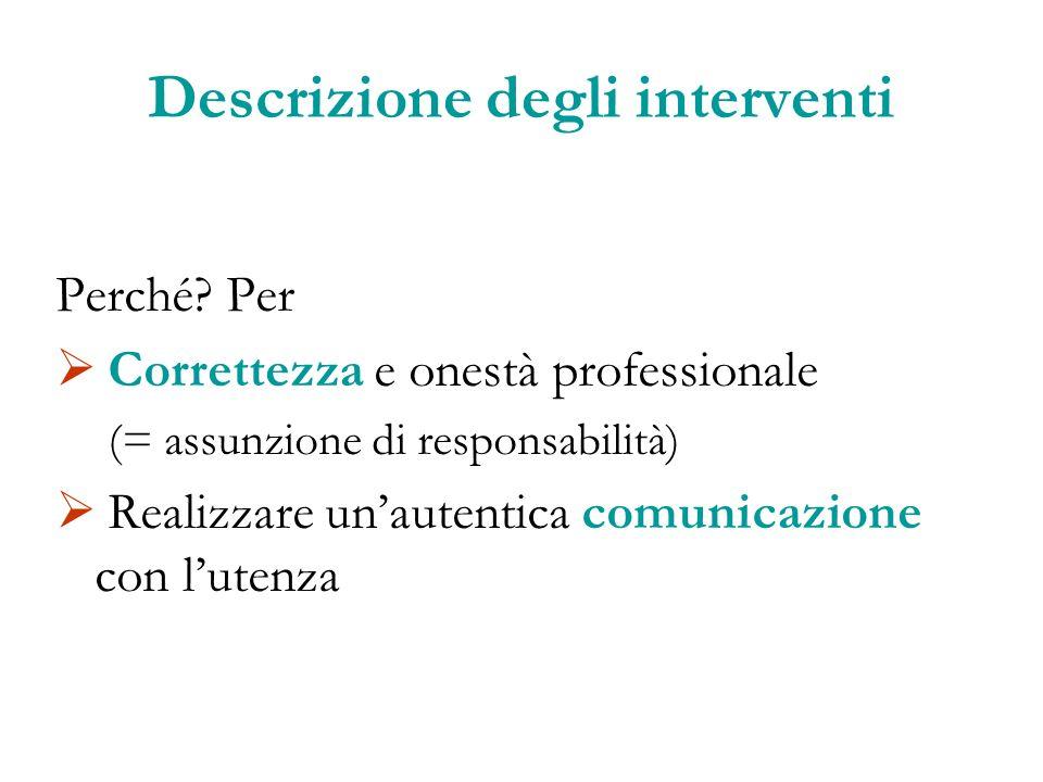 Descrizione degli interventi Perché? Per Correttezza e onestà professionale (= assunzione di responsabilità) Realizzare unautentica comunicazione con