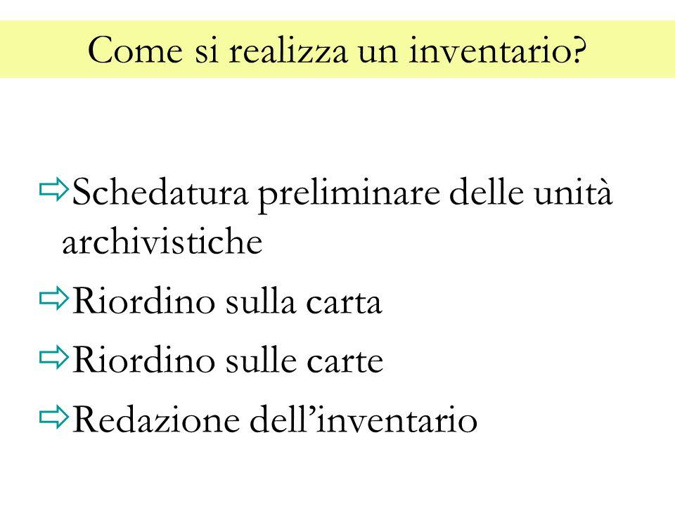 Come si realizza un inventario? Schedatura preliminare delle unità archivistiche Riordino sulla carta Riordino sulle carte Redazione dellinventario