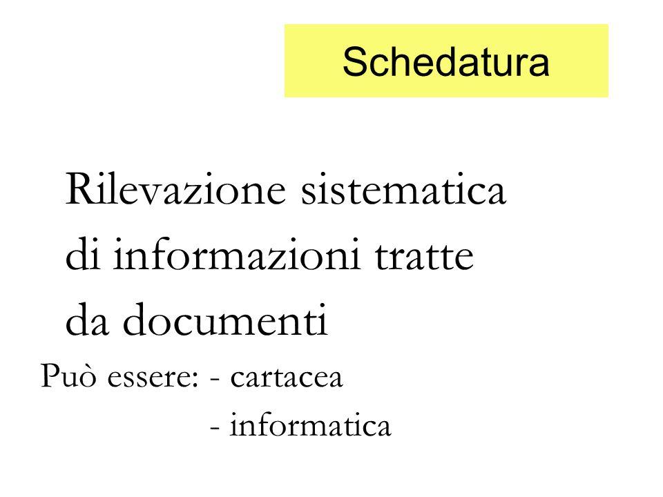 Schedatura Rilevazione sistematica di informazioni tratte da documenti Può essere: - cartacea - informatica