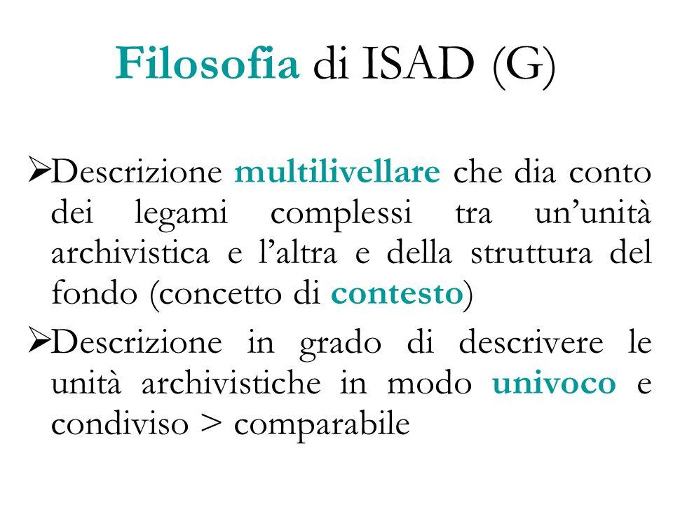 Filosofia di ISAD (G) Descrizione multilivellare che dia conto dei legami complessi tra ununità archivistica e laltra e della struttura del fondo (con