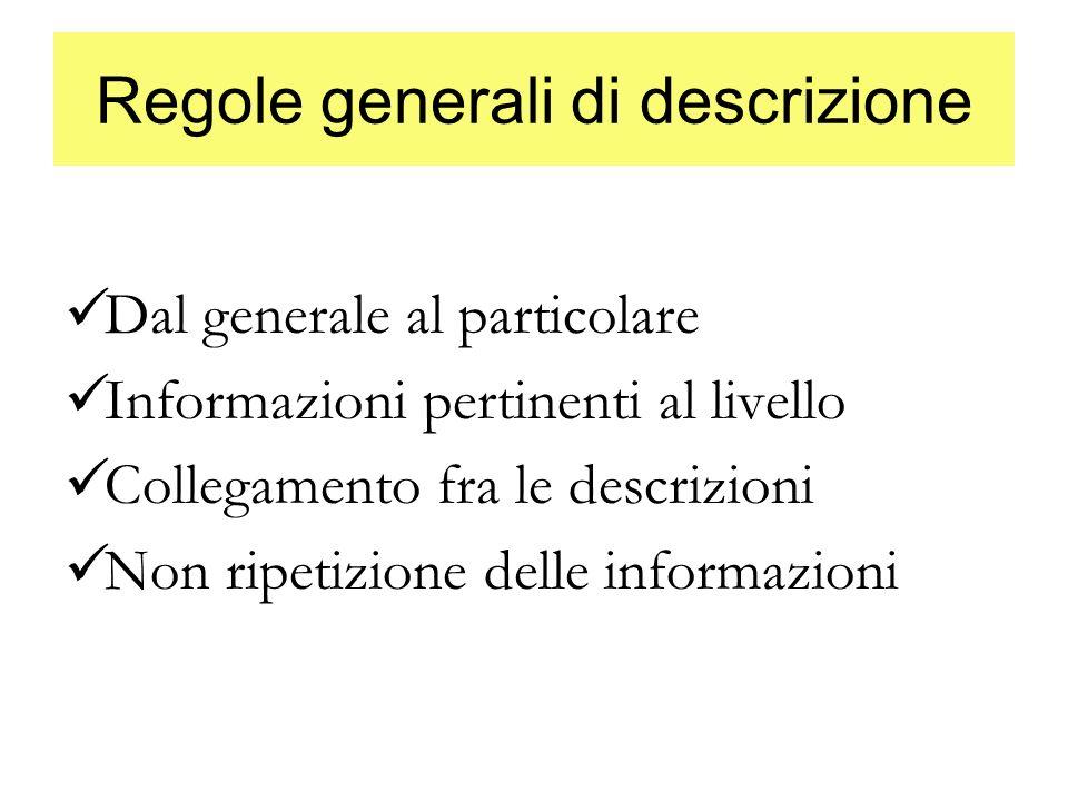 Regole generali di descrizione Dal generale al particolare Informazioni pertinenti al livello Collegamento fra le descrizioni Non ripetizione delle in