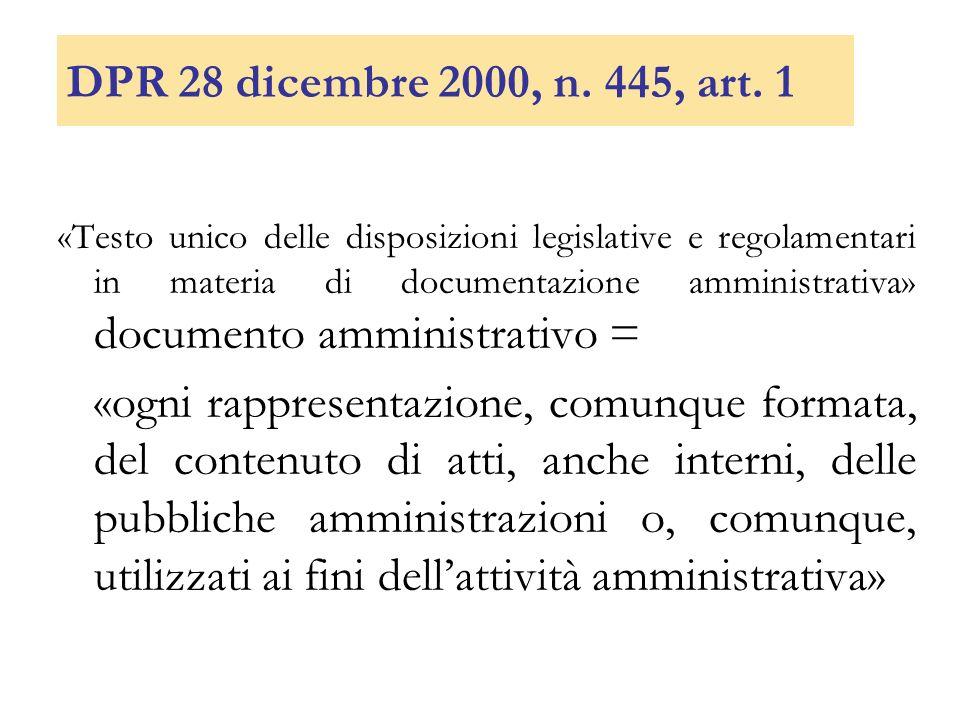DPR 28 dicembre 2000, n. 445, art. 1 «Testo unico delle disposizioni legislative e regolamentari in materia di documentazione amministrativa» document