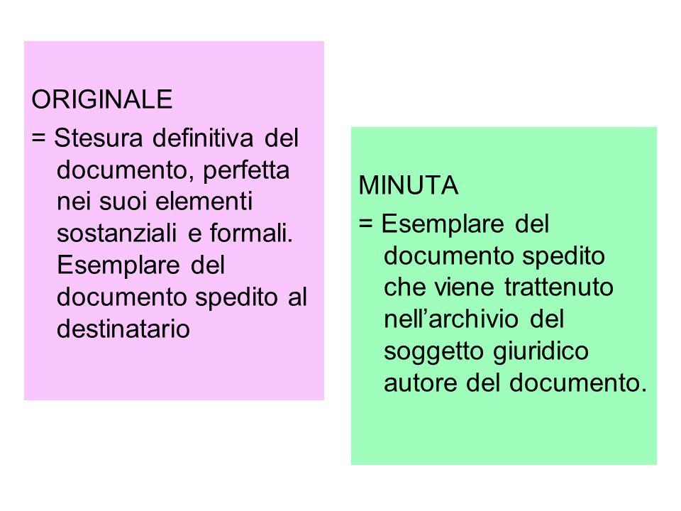 ORIGINALE = Stesura definitiva del documento, perfetta nei suoi elementi sostanziali e formali. Esemplare del documento spedito al destinatario MINUTA