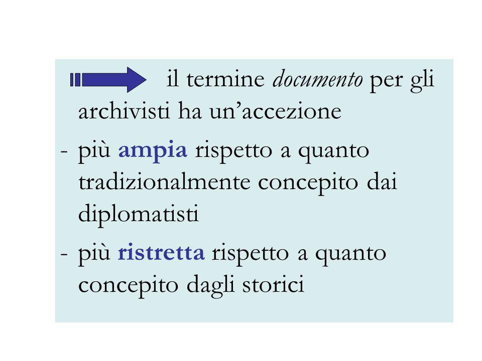 il termine documento per gli archivisti ha unaccezione -più ampia rispetto a quanto tradizionalmente concepito dai diplomatisti -più ristretta rispett