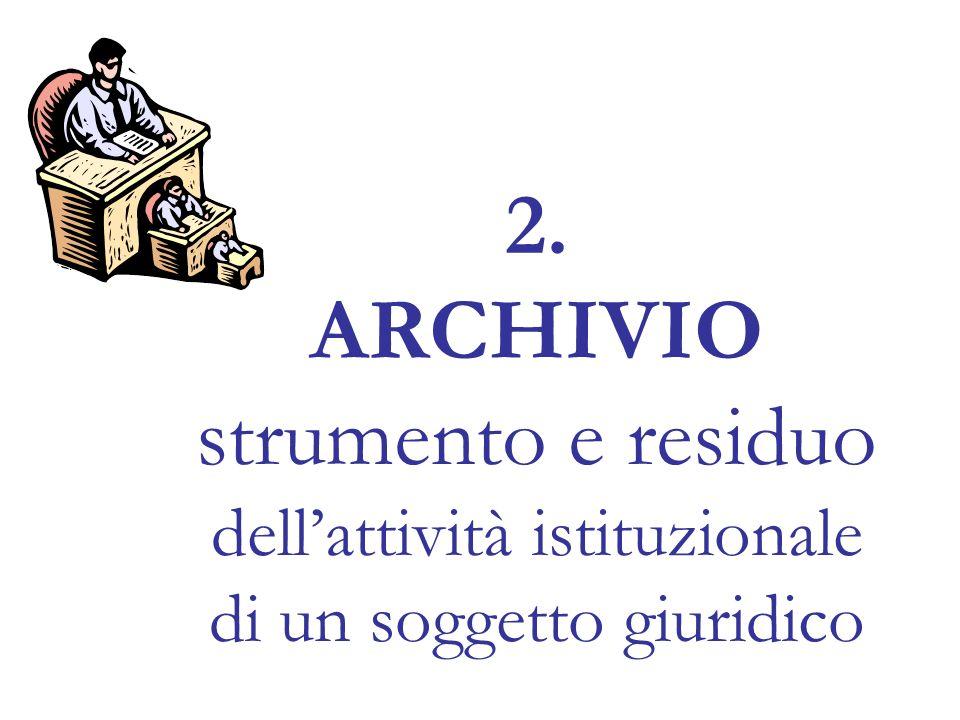 2. ARCHIVIO strumento e residuo dellattività istituzionale di un soggetto giuridico