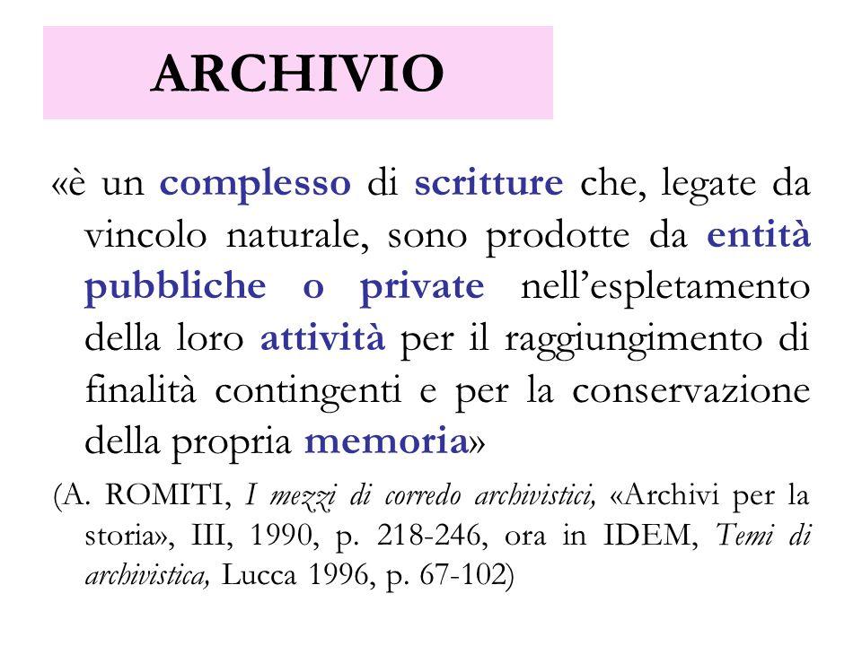 ARCHIVIO «è un complesso di scritture che, legate da vincolo naturale, sono prodotte da entità pubbliche o private nellespletamento della loro attivit