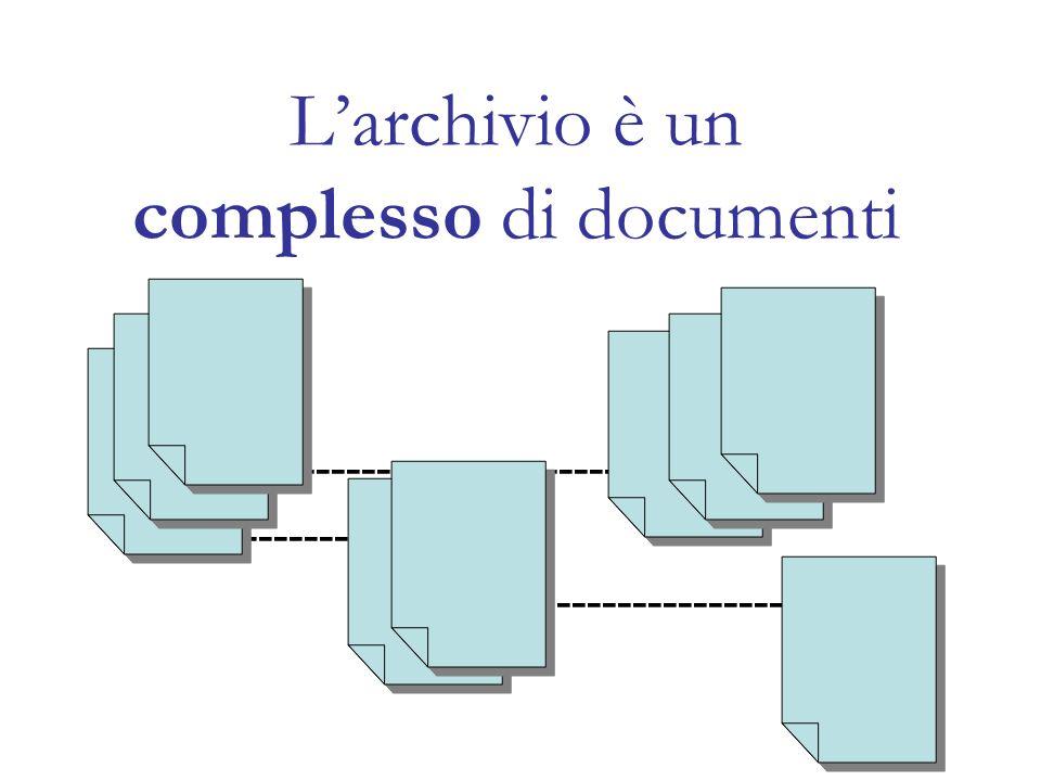 Larchivio è un complesso di documenti ----------------------------- ------------- ---------------------
